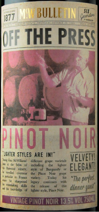 OFF THE PRESS PINOT NOIR ラベル