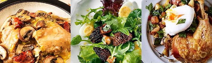 生ハムやキノコのフリカッセ、トリュフやモリーユを使った前菜、メインなら鶏もも肉のコンフィ