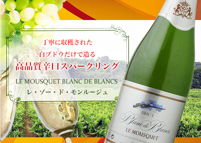 丁寧に収穫された白ブドウだけで造る高品質辛口スパークリング