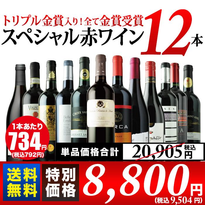 全て金賞受賞スペシャル赤ワイン12本セット