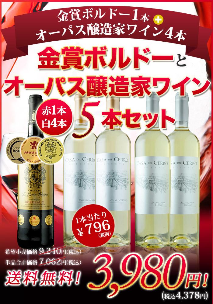 金賞ボルドー1本+オーパス・ワン醸造家ワイン4本の5本セット