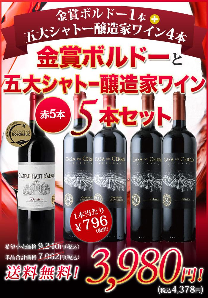 金賞ボルドー1本+五大シャトー醸造家ワイン4本の5本セット