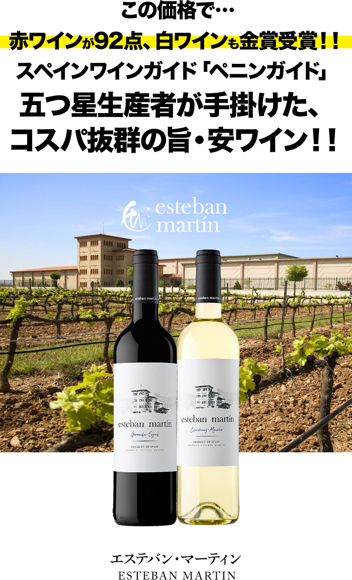 この価格で… 赤ワインが92点、白ワインも金賞受賞!! スペインワインガイド「ペニンガイド」五つ星生産者が手掛けた、コスパ抜群の旨・安ワイン!!