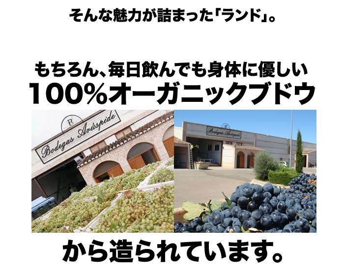 毎日飲んでも身体に優しい100%オーガニックブドウから造られています