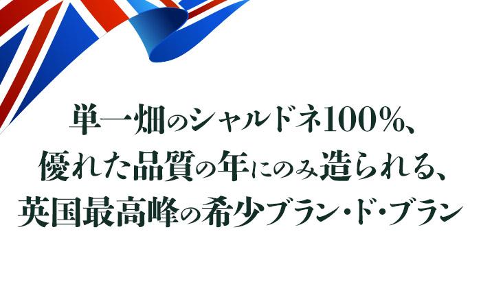 単一畑のシャルドネ100%、優れた品質の年にのみ造られる、英国最高峰の希少ブラン・ド・ブラン